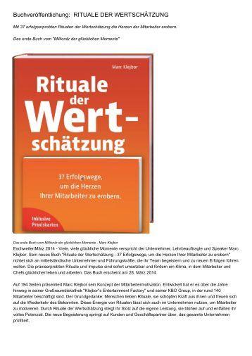 Buchveröffentlichung:  RITUALE DER WERTSCHÄTZUNG