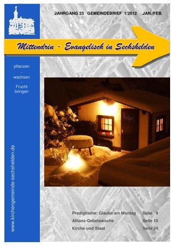 Gemeindebrief 2012 Januar Februar - Kirchengemeinde Sechshelden