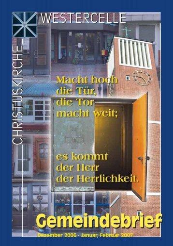 Ausgabe 2006/07: Dez / Jan / Feb - Kirchengemeinde Westercelle