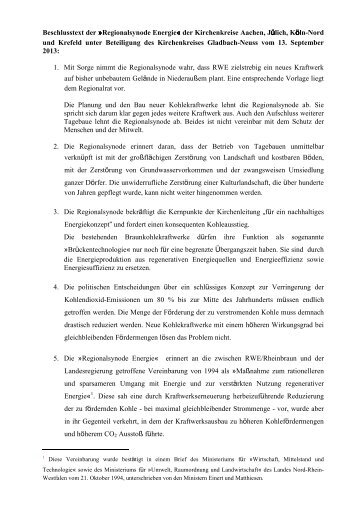 Energiesynode 2013 Beschluss - Evangelischer Kirchenkreis Aachen
