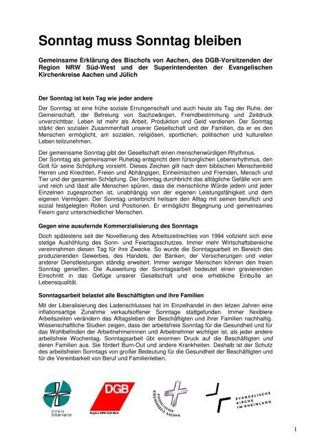 Gemeinsame Erklärung: 2 Seiten - NGG-Region Aachen