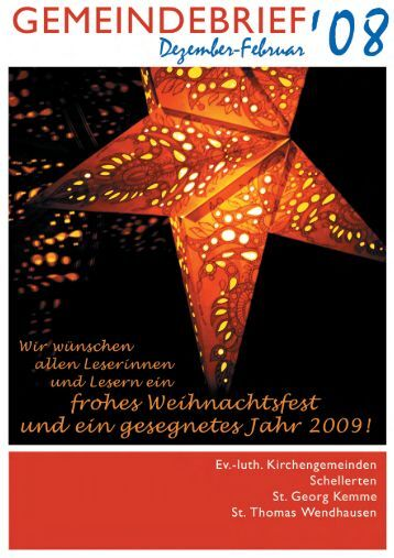Gemeindebrief Dezember 2008-Februar 2009 - Kirchenregion ...