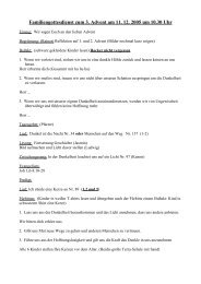 Familiengottesdienst zum 3. Advent am 11. 12. 2005 um 10.30 Uhr
