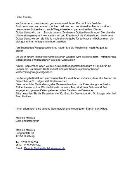 Brief für die Famielenvorbereitung