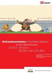 Brückenbauarbeiten in Kirchheim (Neckar) an den Wochenenden ...