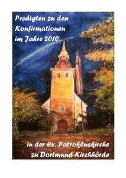 Predigten zu den Konfirmationen im Jahre 2010 in der Ev ...