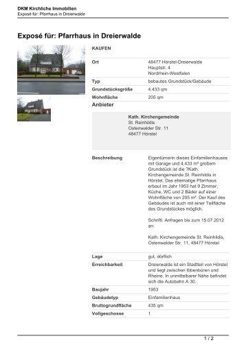 Exposé für: Pfarrhaus in Dreierwalde - Kirchliche Immobilien