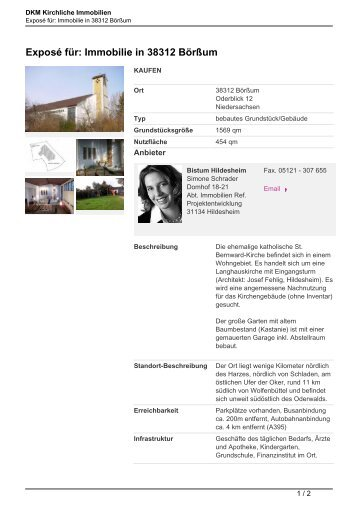 Exposé für: Immobilie in 38312 Börßum - Kirchliche Immobilien