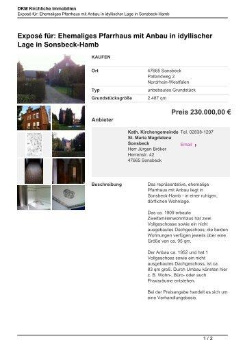 Exposé für: Ehemaliges Pfarrhaus mit Anbau in idyllischer Lage in ...