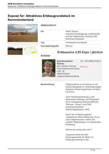 Exposé für: Attraktives Erbbaugrundstück im Kernmünsterland ...