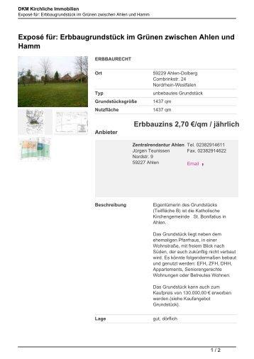 Exposé für: Erbbaugrundstück im Grünen zwischen Ahlen und ...