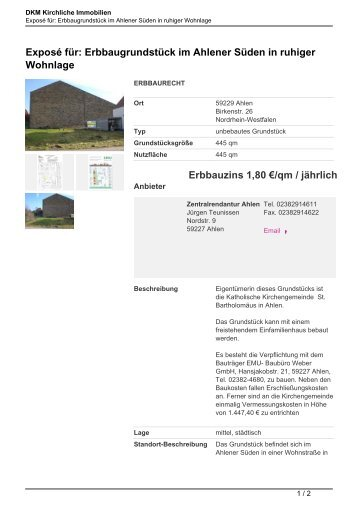Exposé für: Erbbaugrundstück im Ahlener Süden in ruhiger ...