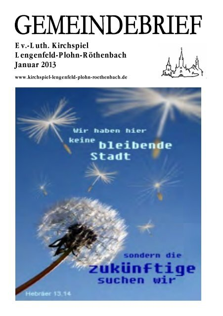 Gemeindebrief Januar 2013 - Kirchspiel Lengenfeld Plohn ...