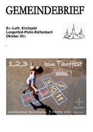 Gemeindebrief Oktober 2011 - Kirchspiel Lengenfeld Plohn ...