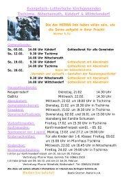 Gottesdienste - Kirchspiel Tschirma