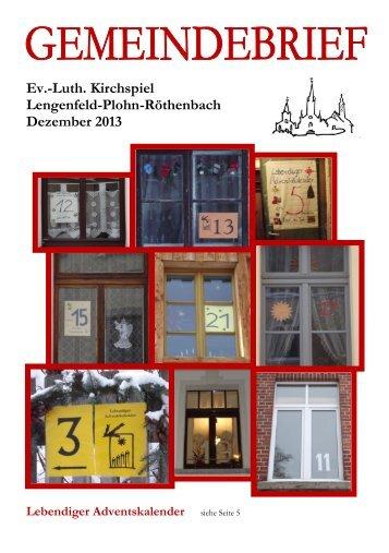 Gemeindebrief Dezember 2013 - Kirchspiel Lengenfeld Plohn ...