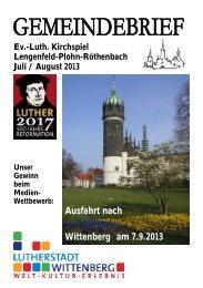 Ausfahrt nach Wittenberg am 7.9.2013 - Kirchspiel Lengenfeld ...