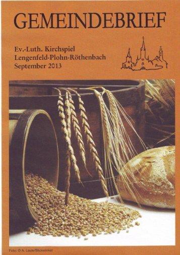 Gemeindebrief September 2013 - Kirchspiel Lengenfeld Plohn ...