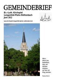 Gemeindebrief Juni 2012 - Kirchspiel Lengenfeld Plohn Röthenbach