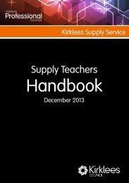 KSS Supply Teachers Handbook.pub - Kirklees Council