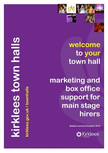 Marketing Pack for Main Stage Hirers - Kirklees Council
