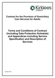 Provision of domiciliary care services contract - Kirklees Council