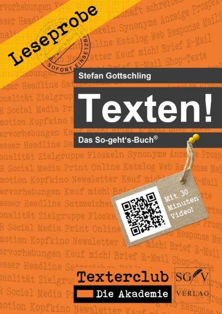 Leseprobe: Texten! Das So-geht's-Buch (Stefan Gottschling)