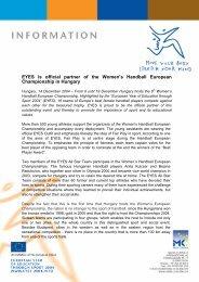 EYES is official partner of the Women's Handball European ...