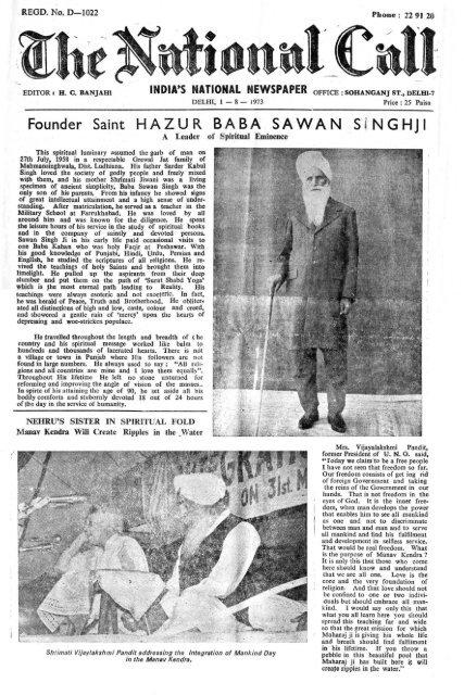 Founder Saint Hazur Baba Sawan Singhji Die Mission Der