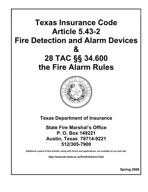 Texas Insurance Code Article 5 43-2, Fire Detection and Alarm