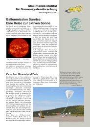 Ballonmission Sunrise: Eine Reise zur aktiven Sonne - Kiepenheuer ...