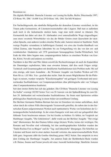 Deutsche Literatur von Lessing bis Kafka