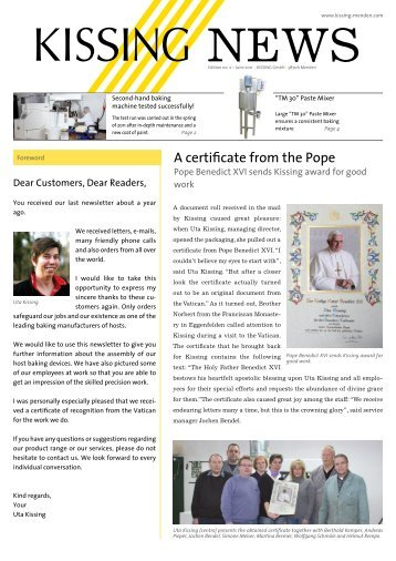 A certificate from the Pope - Kissing GmbH