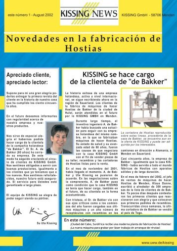 Novedades en la fabricación de Hostias - Kissing GmbH