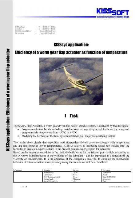 KISSsys application: Efficiency of a worm gear flap     - KISSsoft AG