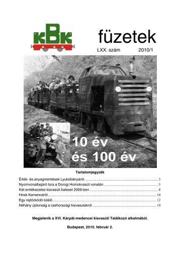 KBK füzetek 2010/1 - kisvasut.hu