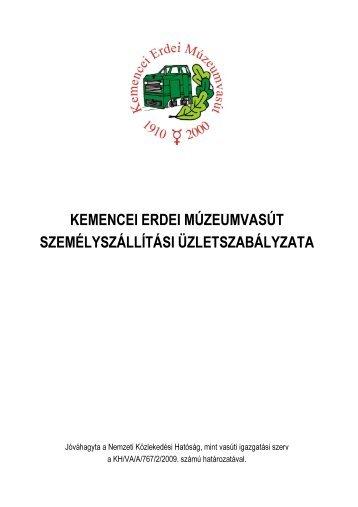 Személyszállítási Üzletszabályzat - Kisvasut.hu