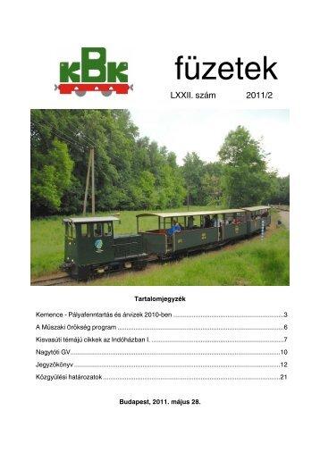 KBK füzetek 2011/2 - Kisvasut.hu
