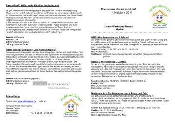 Die neuen Kurse sind da! 1. Halbjahr 2011 - Kinderwerkstatt Villa ...