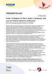 Die Kinderturnstiftung Baden-Württemberg will ... - Kita-Portal-MV