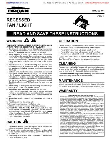 Recessed fan light read and save these instructions home recessed fan light read and save these instructions kitchensource sciox Gallery