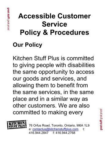 kitchen policies and procedures manual