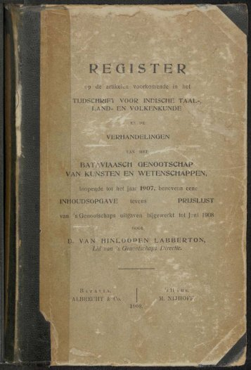Register Tijdschrift en Verhandelingen .... tot het jaar 1907 - kitlv