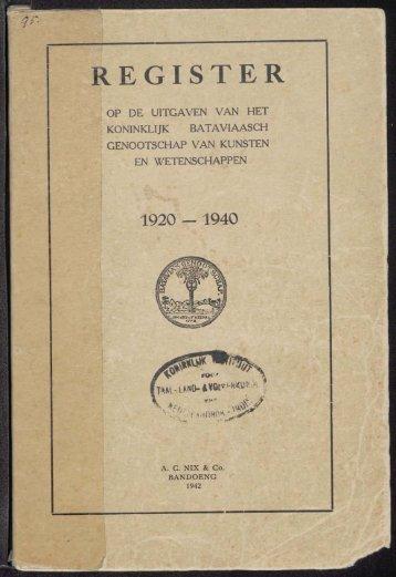 Register 1920-1940 - kitlv