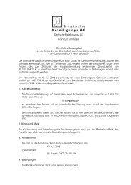 Öffentliche Kaufangebot - Deutsche Beteiligungs AG