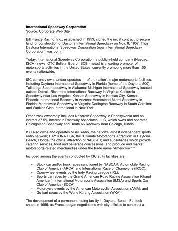 International Speedway Corporation History - Kitsap County ...