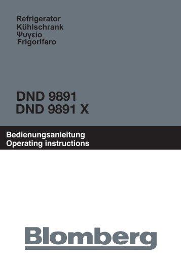 Bedienungsanleitung Operating instructions Refrigerator ... - Blomberg