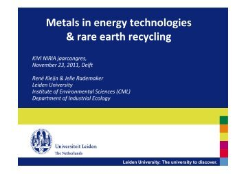 Metals in energy technologies & rare earth recycling - kivi niria