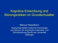 Kognitive Entwicklung und Störungsrisiken im Grundschulalter - Kjp ...