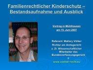 Familienrechtlicher Kinderschutz- Bestandsaufnahme und Ausblick